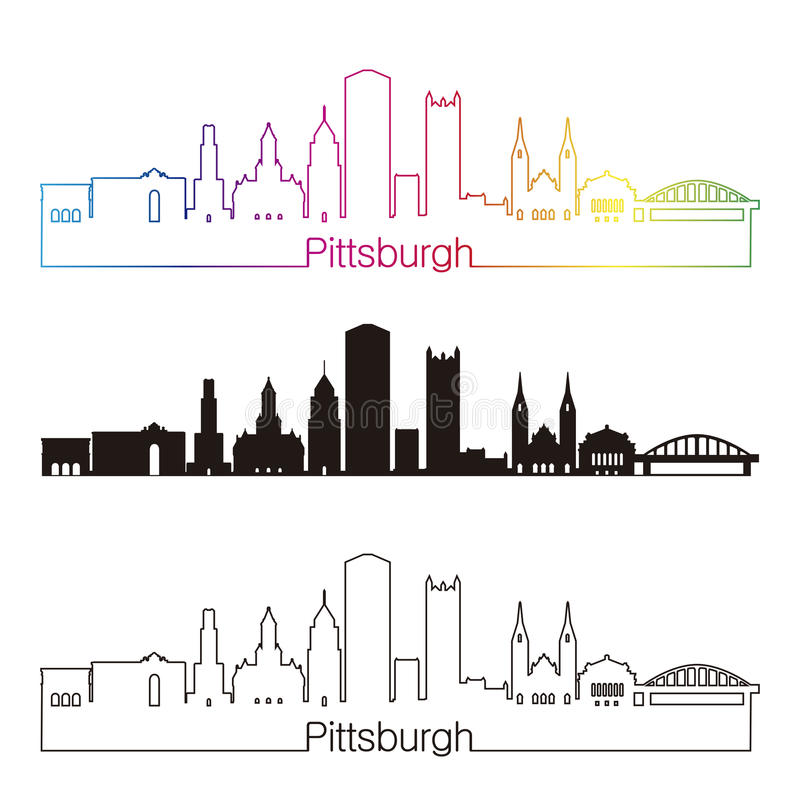 Pittsburgh V2 skypline linear style with rainbow vector illustration