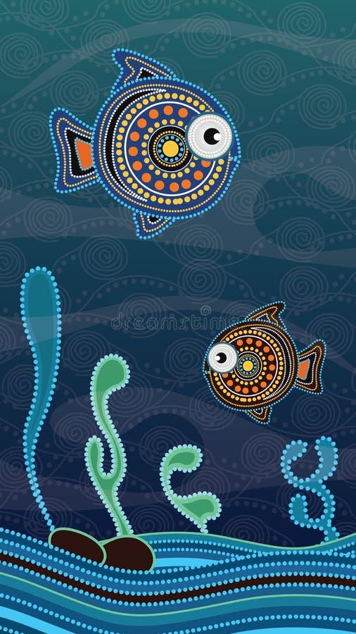 Pittura aborigena di arte del punto con il pesce Concetto subacqueo, vettore della carta da parati del fondo del ritratto royalty illustrazione gratis