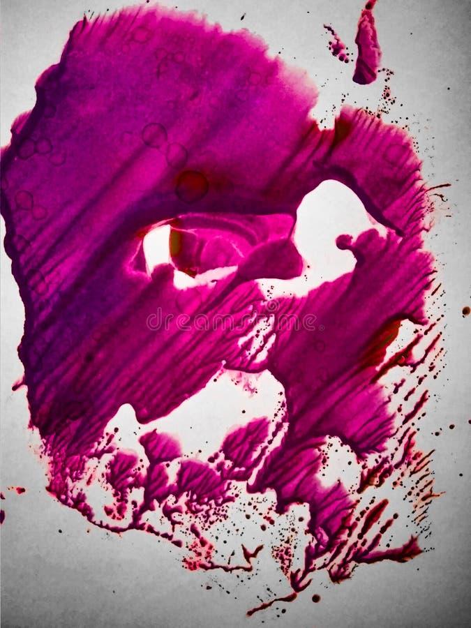 Pittura acquerella con il rosa ed i colori porpora fotografie stock libere da diritti
