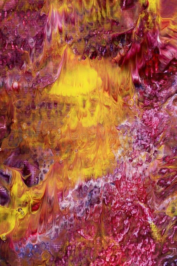 Pittura acrilica astratta bianca e gialla magenta illustrazione vettoriale