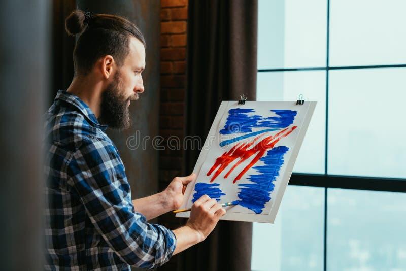 Pittura acrilica astratta della scuola di arte moderna immagini stock libere da diritti