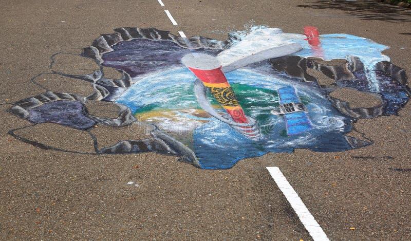 pittura anamorfica della via 3D sull'asfalto in un parco Concetto di arte dell'asfalto Le Maldive, città di Hulhumale illustrazione di stock