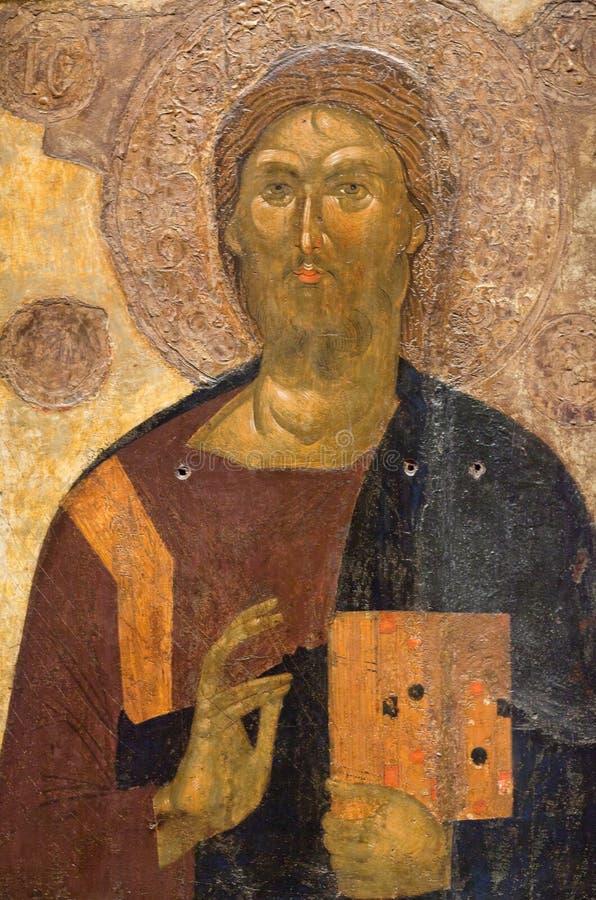 Pittura antica con Cristo in Meteora, Grecia fotografie stock