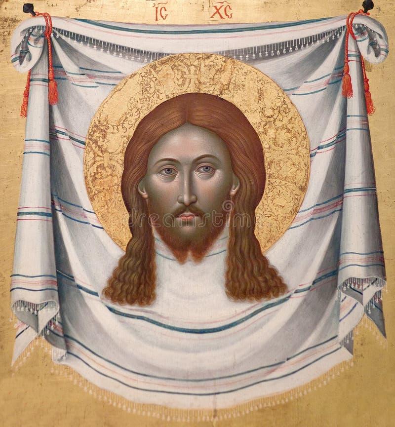 Pittura antica con l'asciugamano santo fotografia stock libera da diritti