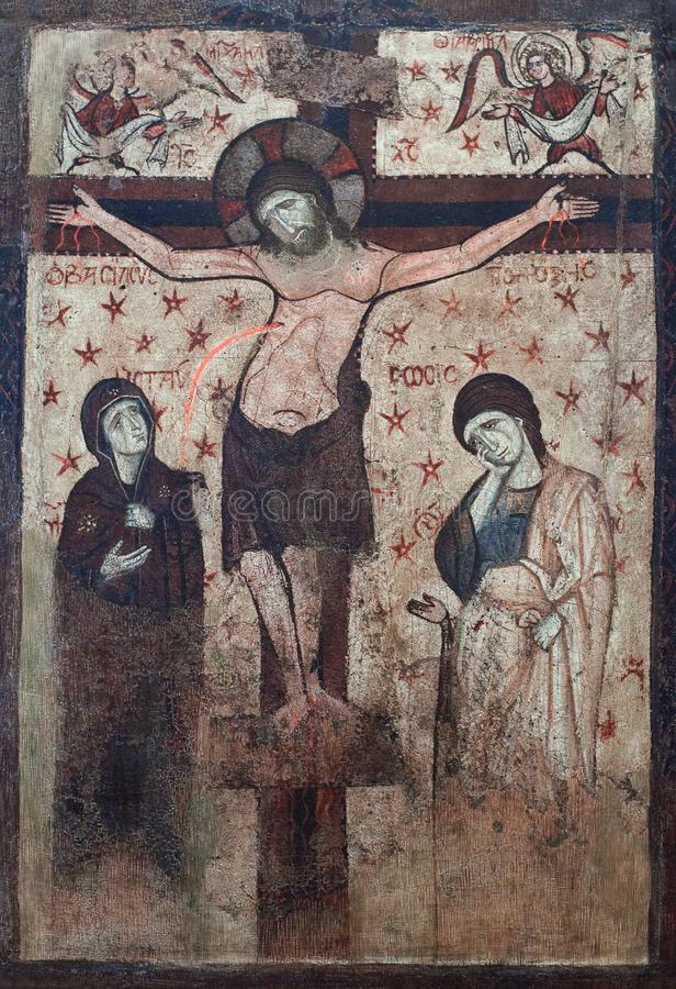Pittura antica con la crocifissione fotografia stock