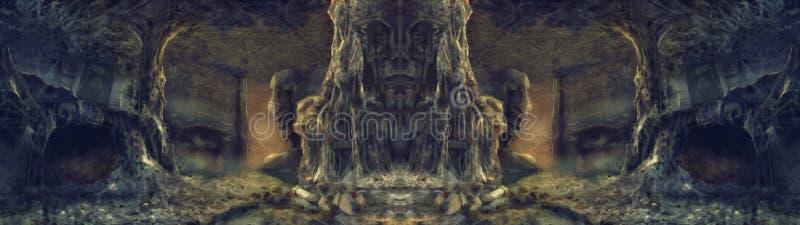 Pittura antica dell'illustrazione della tana del ragno fotografie stock