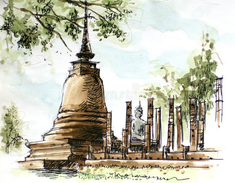 Pittura antica della pagoda della Tailandia royalty illustrazione gratis