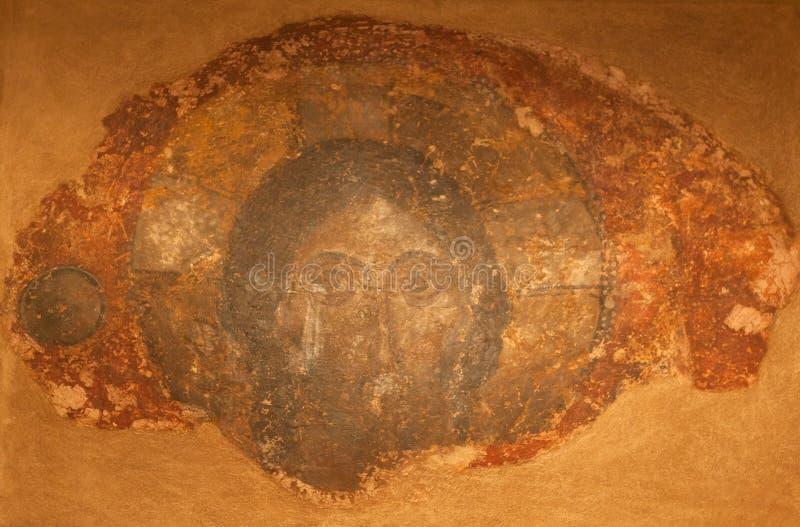 Pittura antica della parete con Cristo Pantokrator fotografie stock