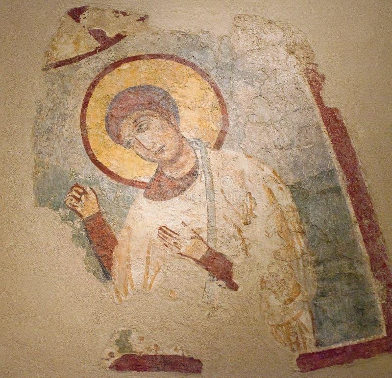 Pittura antica della parete nella chiesa Hagios Georgios e Nikolaos su Naxos, Cicladi, Grecia immagine stock libera da diritti
