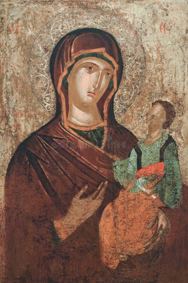 Pittura antica - vergine Maria con il bambino fotografia stock