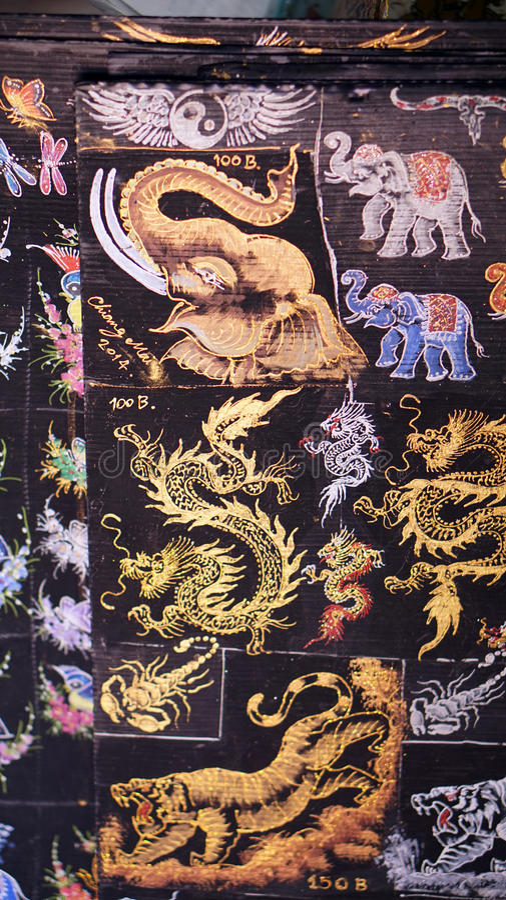 Pittura asiatica di arte sulla carta muberry fotografia stock libera da diritti