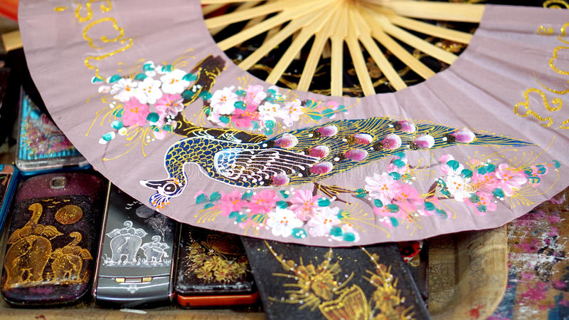Pittura asiatica di arte sulla carta muberry immagini stock libere da diritti