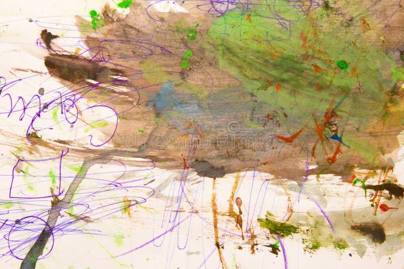 Pittura astratta degli acquerelli bagnata su carta immagine stock