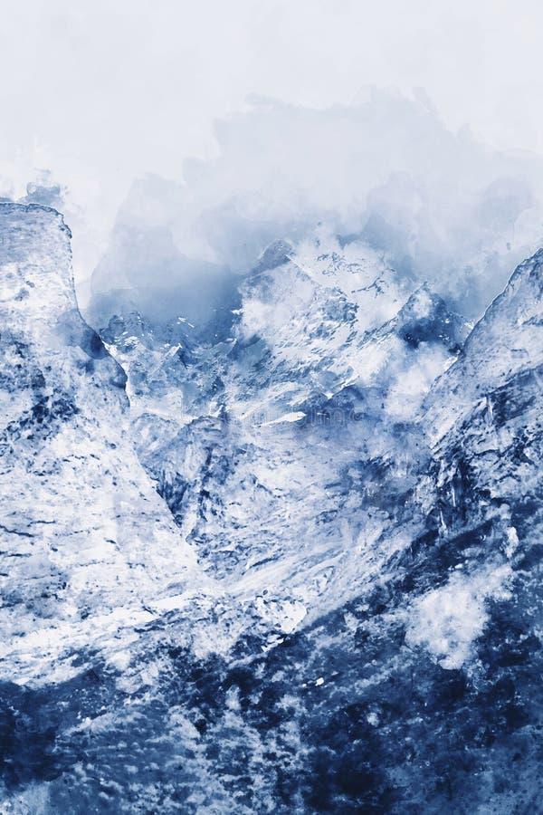 Pittura astratta dei picchi di montagna nel tono blu immagine stock
