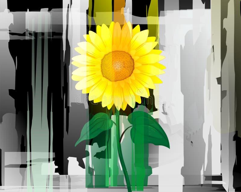 Pittura astratta del girasole illustrazione di stock