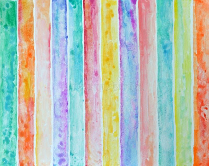 Pittura astratta dell'acquerello del fondo del modello a strisce illustrazione di stock