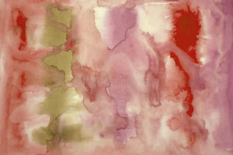 Pittura astratta dell'acquerello di colore rosso e nero Sfuocatura su carta immagine stock libera da diritti