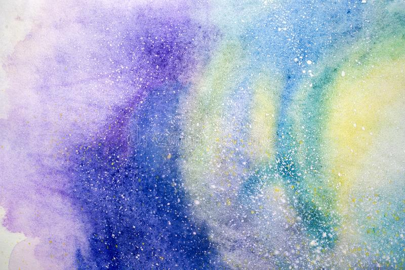 Pittura astratta dell'acquerello disegno di colore di acqua Le macchie acquerelle strutturano il fondo illustrazione vettoriale