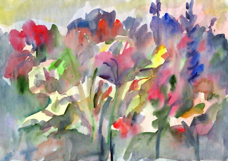 Pittura astratta dell'acquerello Acquerello floreale wildflowers illustrazione vettoriale