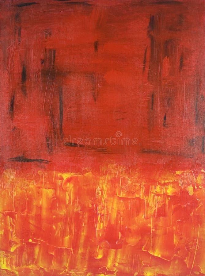 Pittura astratta dell'espressionista nel colore rosso immagine stock libera da diritti
