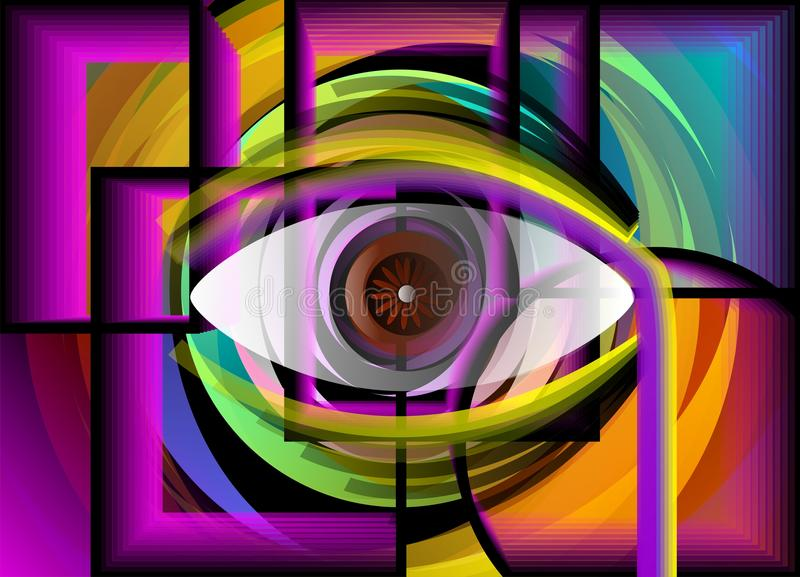 Pittura astratta dell'occhio all'interno delle coperture. royalty illustrazione gratis