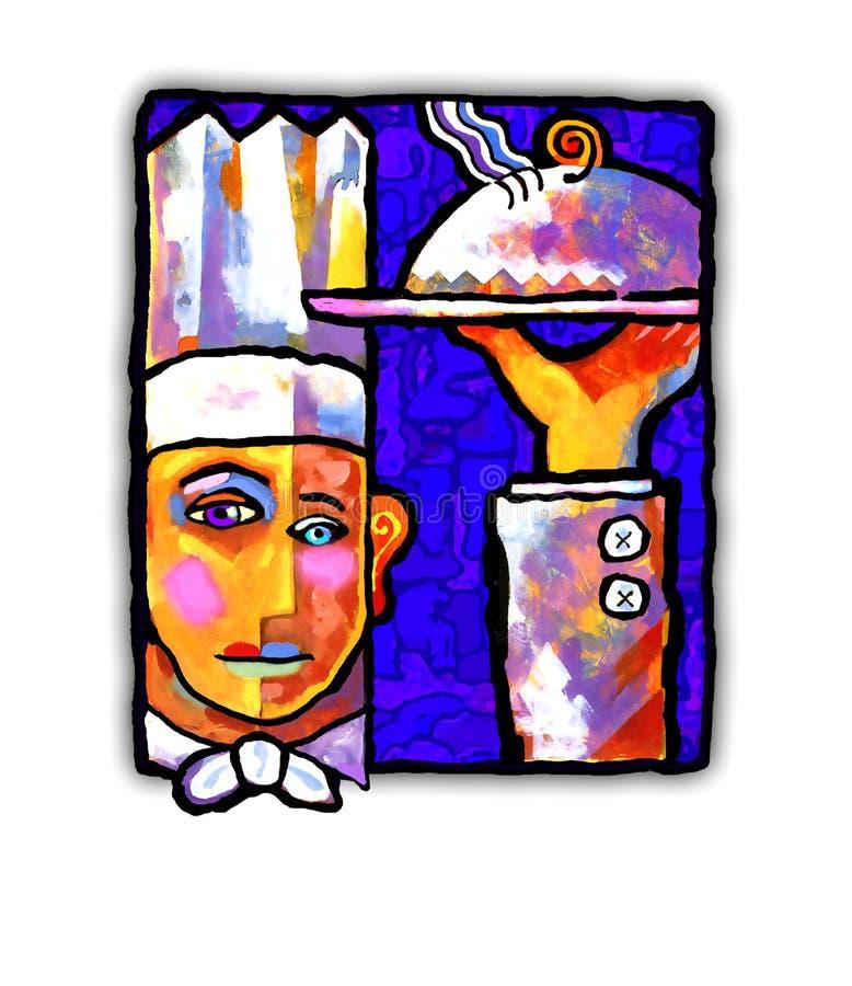 Pittura astratta di un cuoco unico illustrazione vettoriale