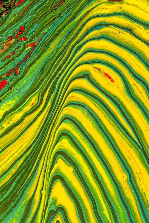 Pittura astratta verde e gialla immagine stock