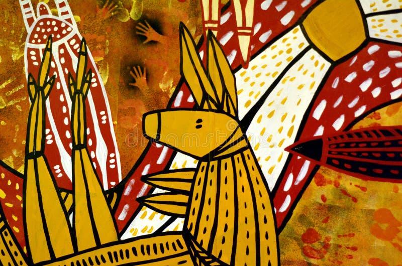 Pittura australiana indigena del punto di arte del canguro fotografia stock libera da diritti