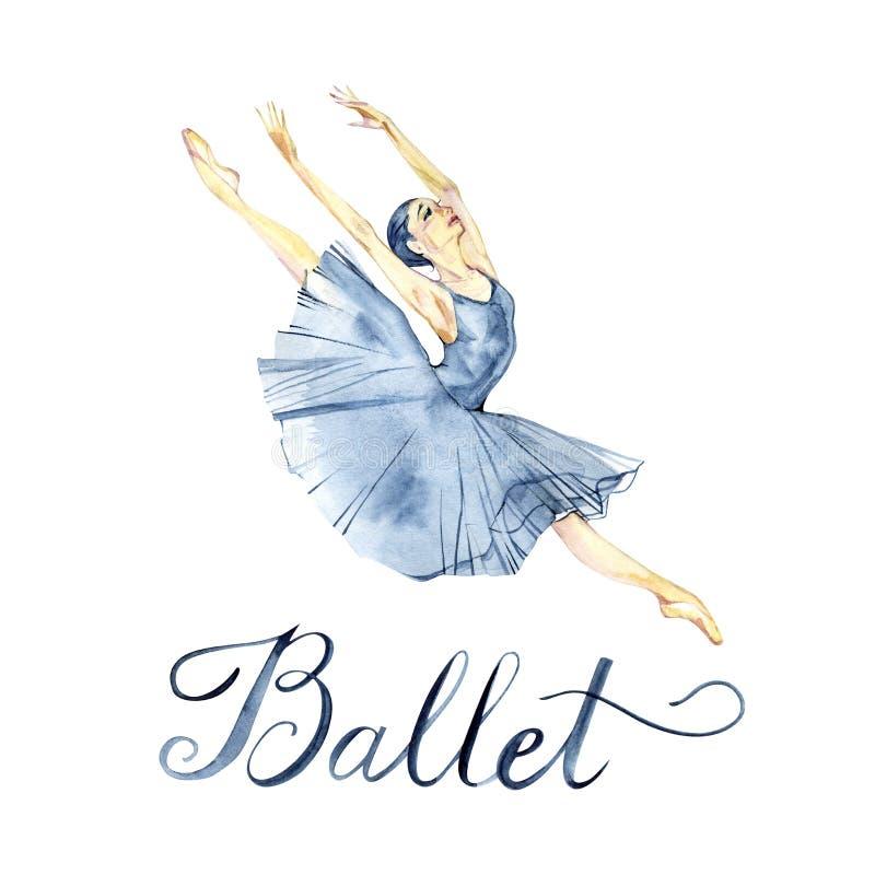 Pittura ballante dell'acquerello della ballerina isolata sulla cartolina d'auguri bianca del fondo illustrazione vettoriale