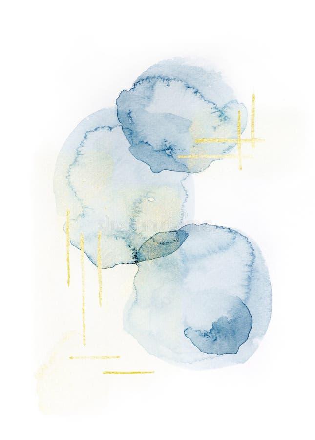 Pittura blu di colore di acqua del cerchio con l'acrilico di scintillio dell'oro sul fondo del Libro Bianco immagini stock libere da diritti