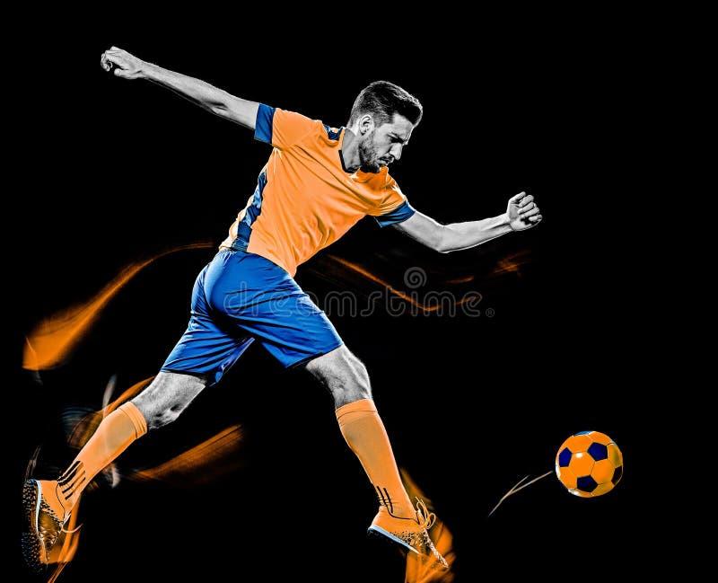 Pittura caucasica della luce del fondo del nero dell'uomo del calciatore immagine stock
