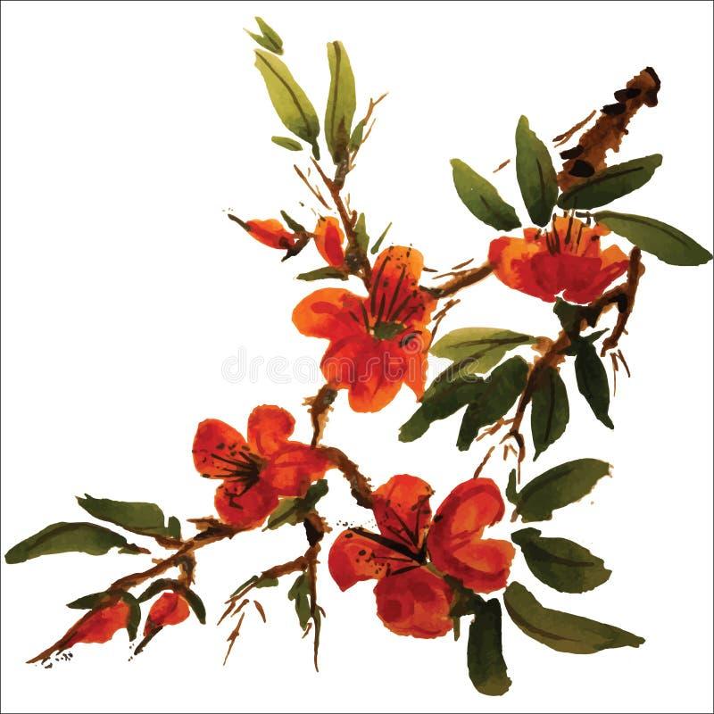 Pittura cinese dei fiori illustrazione vettoriale