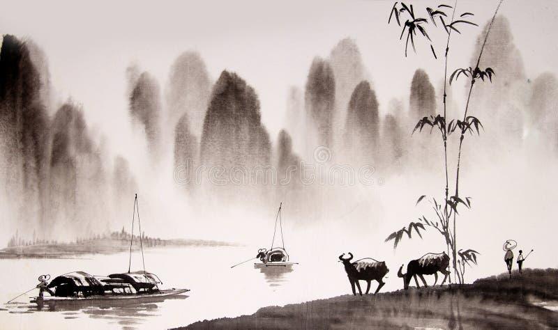 Pittura cinese dell'inchiostro del paesaggio illustrazione di stock