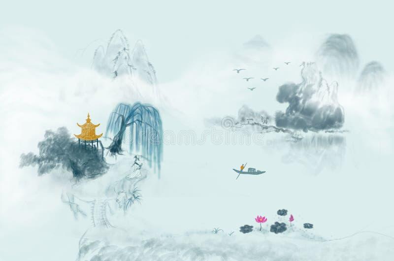Pittura cinese dell'inchiostro del paesaggio di paese delle fate illustrazione vettoriale