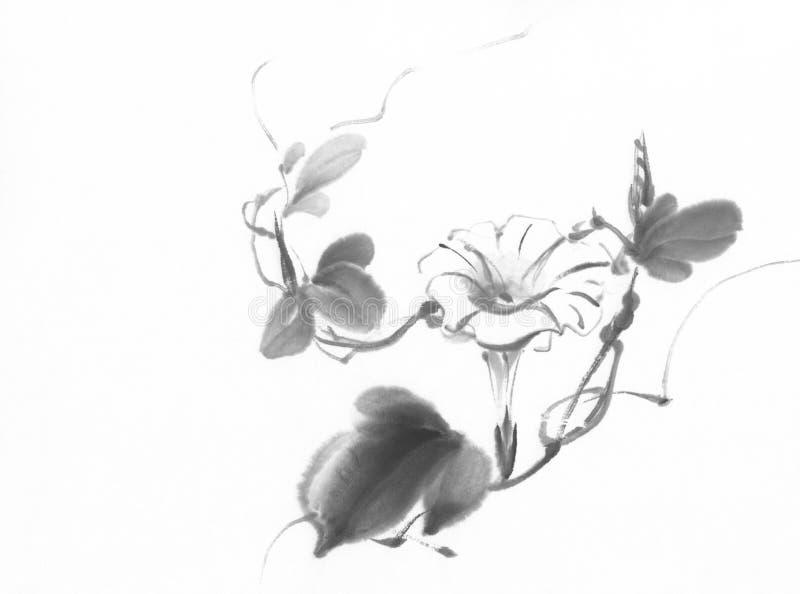 Pittura cinese dell'inchiostro di ipomea royalty illustrazione gratis