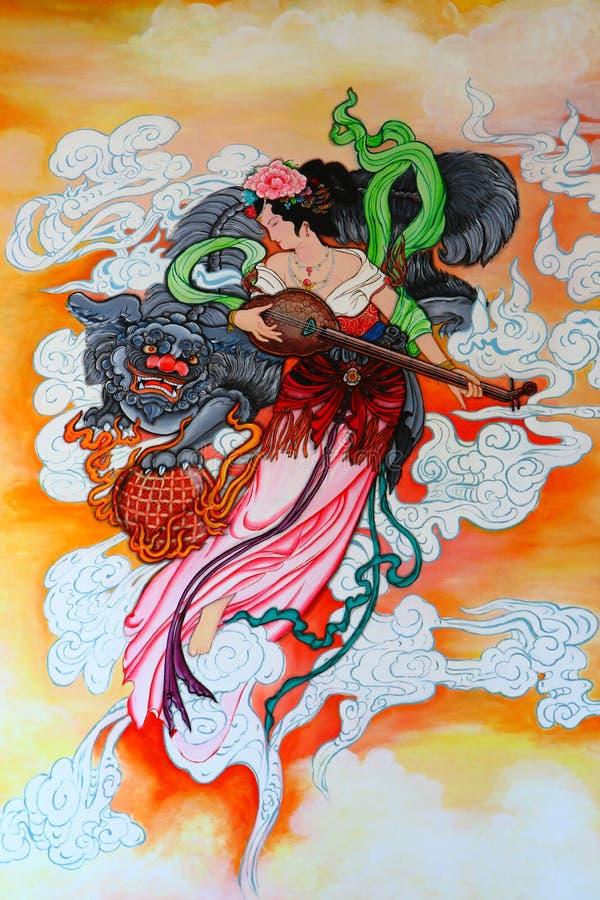 Pittura cinese di tradizione sulla parete royalty illustrazione gratis