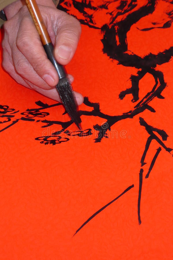 Pittura cinese e calligrafia art. fotografia stock