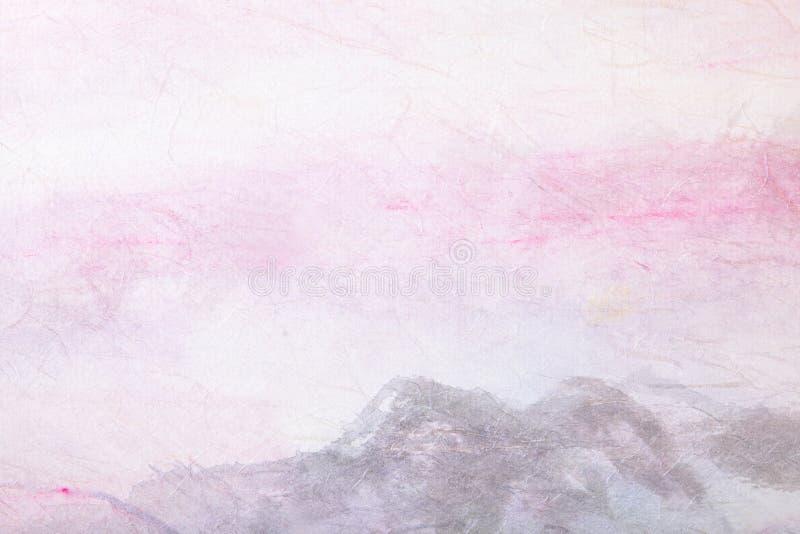 Pittura cinese (paesaggio della montagna) sul documento illustrazione di stock