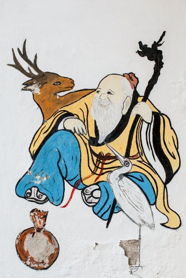 Pittura cinese sulla parete cinese del tempio immagine stock libera da diritti