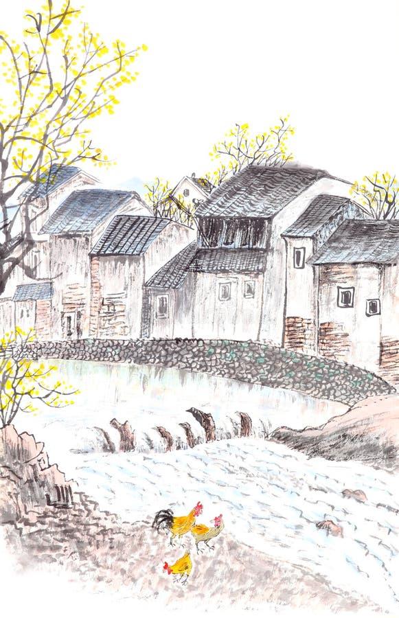 Pittura cinese tradizionale del landscpe del paese illustrazione di stock