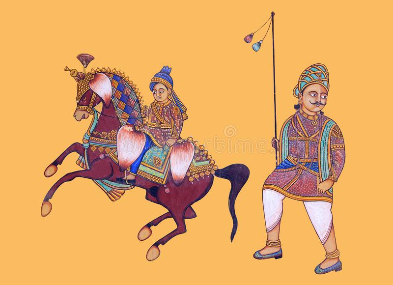Pittura colourful tradizionale della parete al vecchio haveli in Udaipur, Ragiastan, India immagini stock libere da diritti