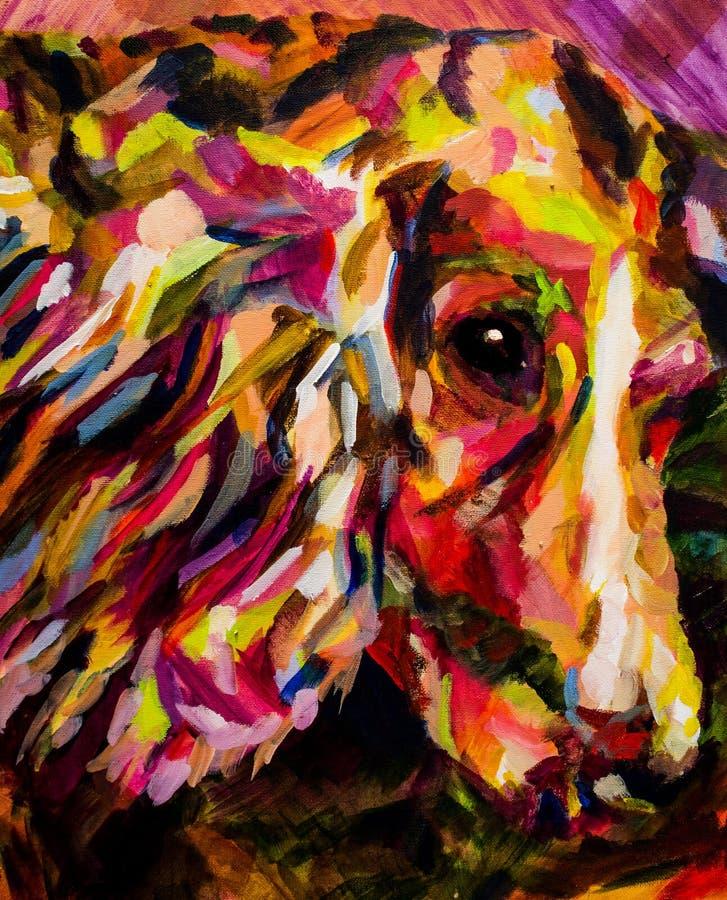 Pittura contemporanea acrilica del cane fotografie stock libere da diritti
