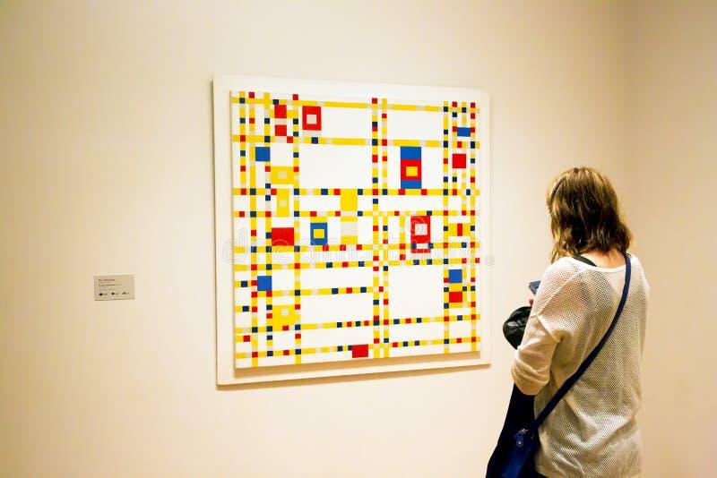 Pittura da Mondrian in MoMA di New York fotografie stock libere da diritti