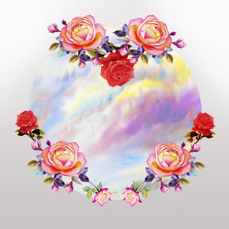 Pittura dei fiori delle rose e della nuvola del cielo illustrazione vettoriale