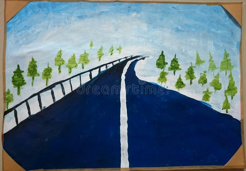 Pittura del cielo dell'albero della strada fotografie stock libere da diritti