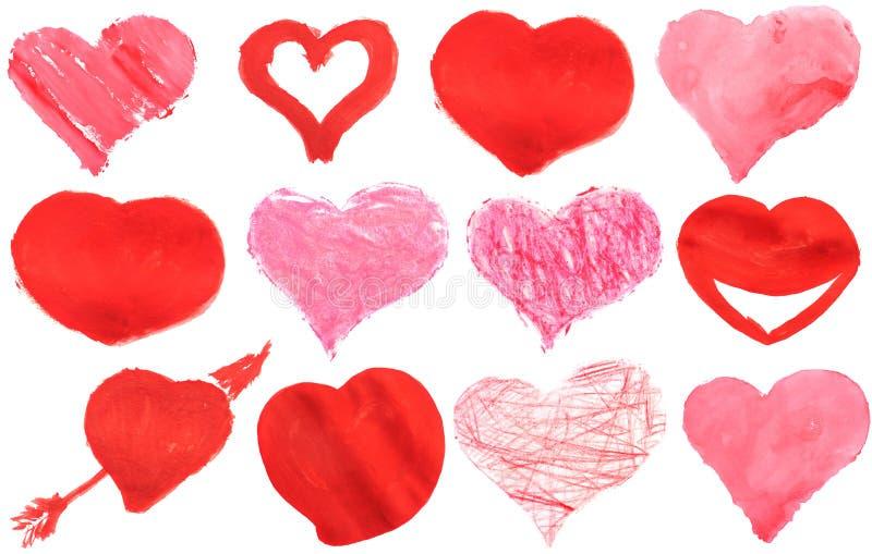 Pittura del cuore di amore acquerella immagine stock