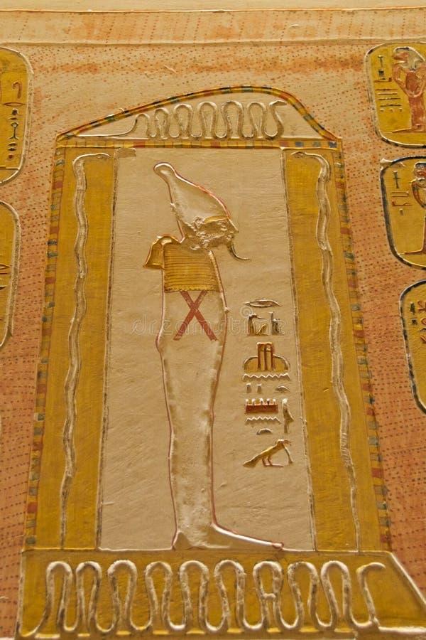 Pittura del dio egiziano di Osiris nella valle dei re a Luxor, Egitto immagini stock libere da diritti