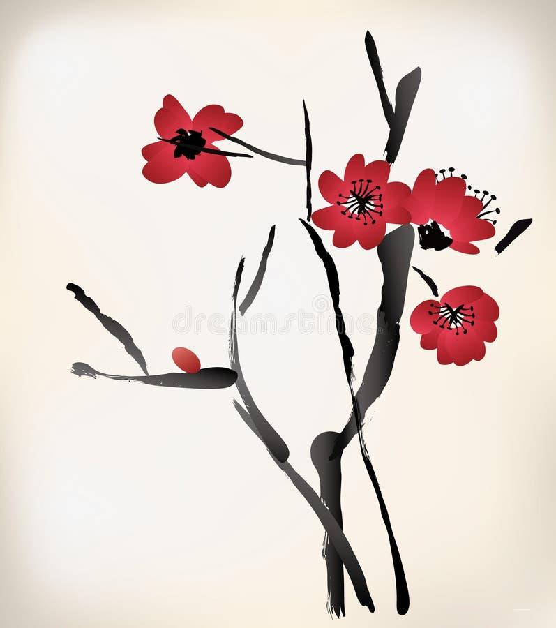 Pittura del fiore illustrazione di stock
