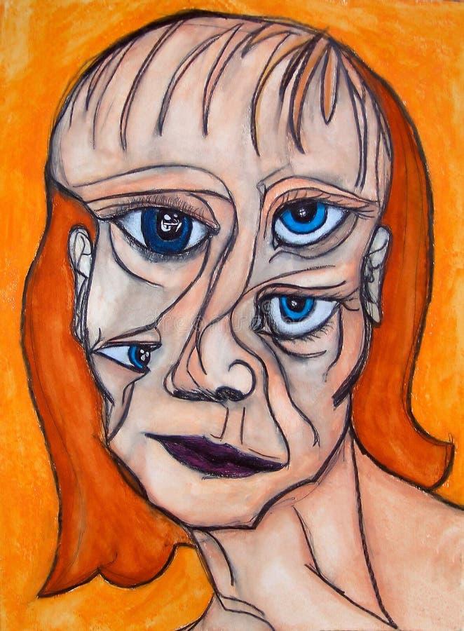 Pittura del fronte della donna illustrazione di stock