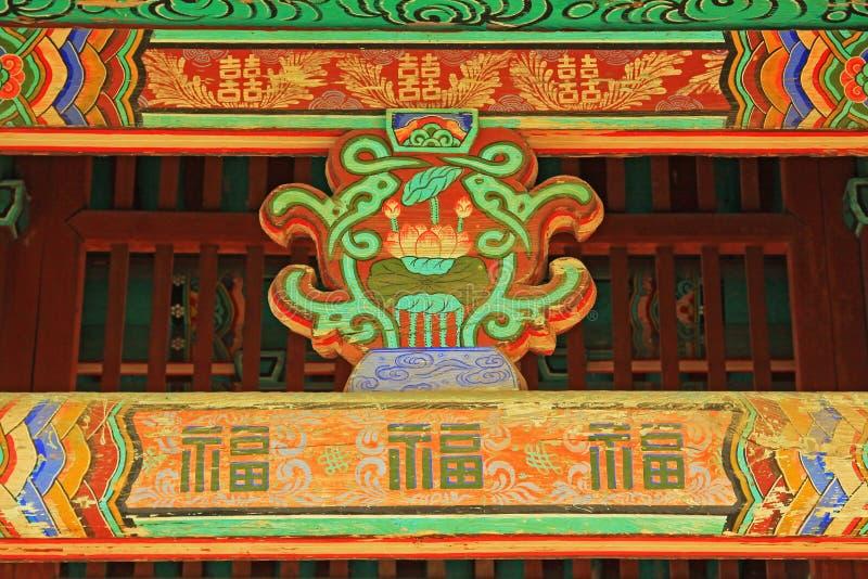 Pittura del legno del fascio di tetto della Corea immagini stock